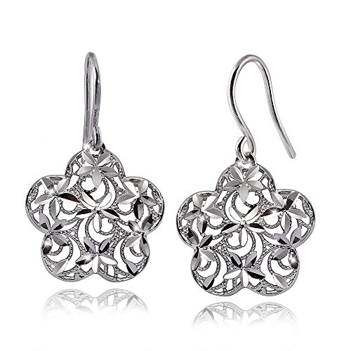 MATERIA Damen Ohrringe Blumen Silber 925 MIA - Blüten Ohrhänger floral diamantiert filigran mit...