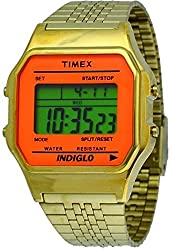 Timex TW2P65100 Womens Indiglo Vintage Gold Tone Metal Band Digital Watch
