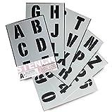 Lettrage Pochoir lettres de l'alphabet/numéros 70mm (7cm) de haut Grande moderne Capitales sur 6feuilles de 295x 200mm