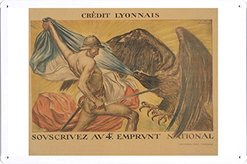world-war-i-one-tin-sign-metal-poster-reproduction-of-credit-lyonnais-souscrivez-au-4e-emprunt-natio