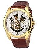 EASTPOLE Herren Mechanische Armbanduhr Automatikuhr Braun Leder Uhrband Skelett Uhr PMW491 + EASTPOLE Geschenkbox