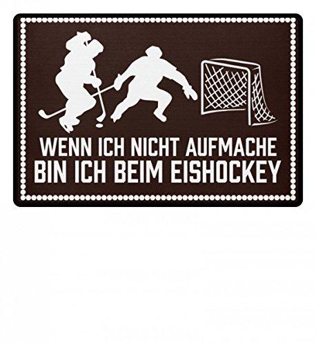 Hochwertige Fußmatte - Wenn ich nicht aufmache bin ich beim Eishockey Hockeyschläger Trikot Puck Mann Frau Geschenk