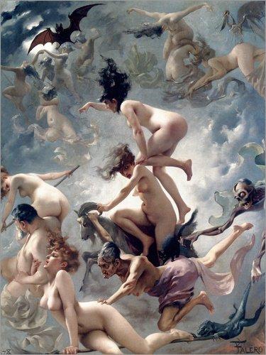 Poster 60 x 80 cm: Hexen gehen zu ihrem Sabbath von Luis Ricardo Falero - hochwertiger Kunstdruck,...