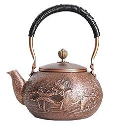 Kupfer Teekanne Reines Handwerk Antik Porzellan Keiner Behandlung Innenwand Lotus Goldfish Muster Tee Tee Gekochte 1.3L Wasser