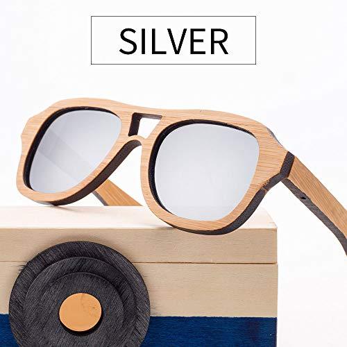 Zbertx Holz Bambus Sonnenbrille Polarisierte Jungen Mädchen Bambus Sonnenbrille Vintage Retro Style,Silver