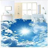 3D Hintergrundbild Wallpaper Boden Pvc Wandbild Benutzerdefinierte Wandbild Tapete Modern Blue Sky Sunshine Bodenfliesen Aufkleber Bad PvcWasserdichte Bodenbelag Tapete 3D 120X80Cm,Ayzr