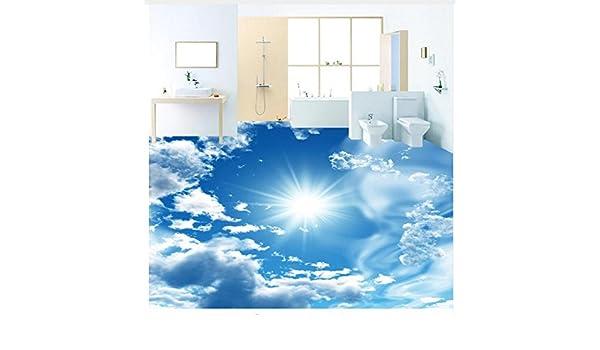 3D Hintergrundbild Wallpaper Boden Pvc Wandbild Benutzerdefinierte Wandbild  Tapete Modern Blue Sky Sunshine Bodenfliesen Aufkleber Bad Pvc Wasserdichte  ...