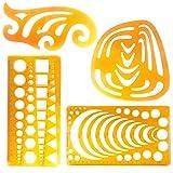 evneed French Curve Set, Kreis Radius Master Zeichnen Vorlage Arc Schablone, Französisch Kurven für Zeichnen, biegbarer Curve Vorlage Lineal für alle Zwecke,, 4Stück