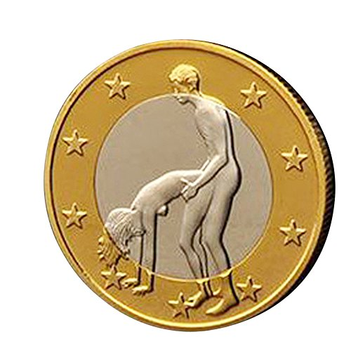 Btruely Adultos Juego Sexual Juguete Flipping Challenge Coins Monedas de Novedad Regalo para Adultos Parejas Amantes (Golden)