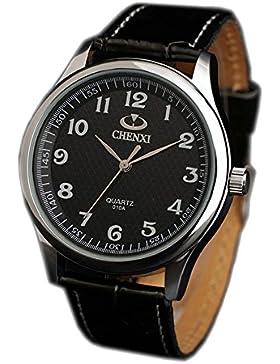 ufengke® schön lässig elegante lederarmband am handgelenk armbanduhren,wasserdicht geschenk armbanduhren für herren-schwarz