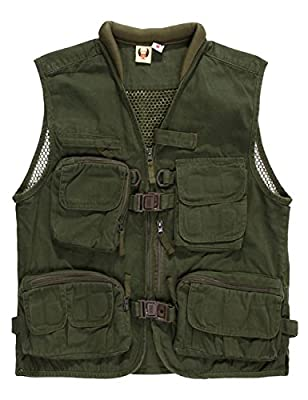 Menschwear Men's Cargo Vest Multi Pockets Mesh Casual Outwear