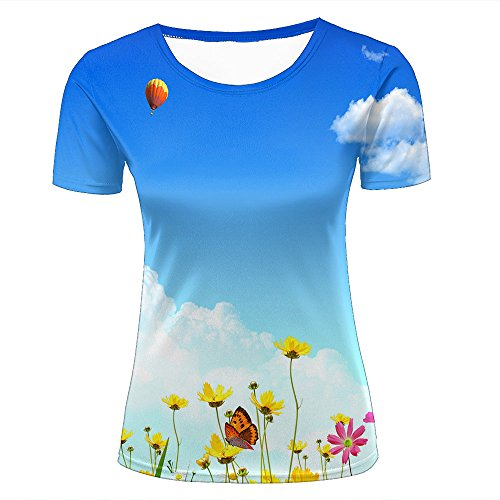 3D Tshirts Women Floral Butterfly Balloon Casual Graphics Tees XXL (Rugby Butterfly)