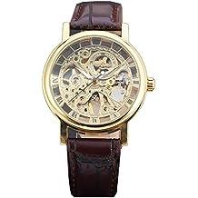 GuTe - Reloj de pulsera mecánico (steampunk, pulsera de poliuretano marrón, diseño esqueleto), color dorado
