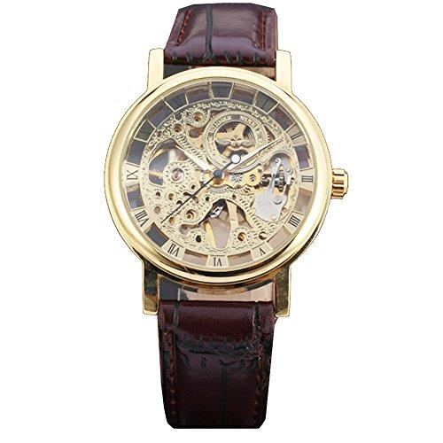 Gute, con scheletro meccanico dorato steampunk-orologio a tracolla, colore: marrone scuro