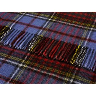 Anderson blue tartan check pure new wool knee rug throw - British made by Bronte
