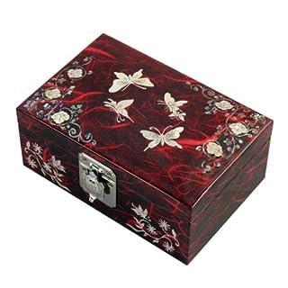 Antique Alive Jewellery Box Schmuckkästchen/Schmuckkästchen mit rotem Schmetterling und Arabesken und Maulbeerpapier, lackiertes Holz, Rot