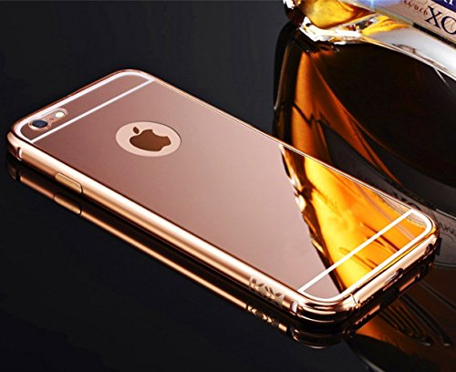 Sunroyal für iPhone 6 iPhone 6S 4.7 Zoll Rose Gold Mirror Spiegel Metall Case Cover - Aluminium Rahmen PC Zurück Rückseite Bumper Case Metal Hülle Alu Metal Schutz Mirror Chrom Cover Ultra Slim Handy  Rose Gold