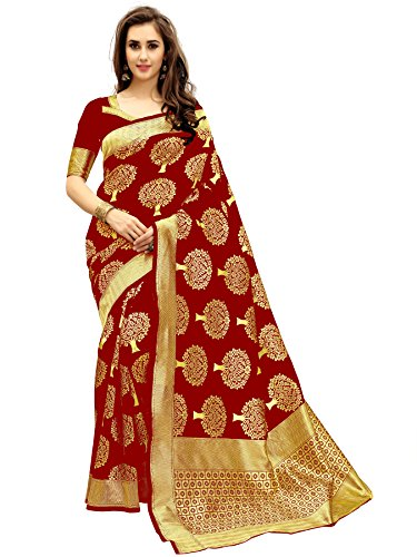 Isabella Women's Maroon Kanjivaram Cotton Silk saree With Blouse Material