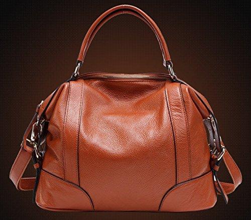 Tote Bag In Vera Pelle Per Donna Di Grande Capienza Borsa A Tracolla Borsa A Tracolla (3 Colori) Marrone