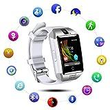 Montre Connectée pour Android avec Caméra/Slot de SIM SD Carte,Qimaoo Q18 Écran Tactile Bluetooth Smart watch avec Podomètre,Sommeil,Calories pour Samsung Galaxy S6/S7/S7 Edge/S8 Huawei P8/P8 Lite/P9(Blanc+Argenté)
