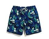 Lantra Besa Blaue Blätter Wasserabweisend Schnelltrocknend Herren Männer Badehose Badeshorts Knielang Shorts für Wassersport Freizeit im Sommer Type 3 - S