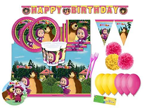 DECORATA PARTY Kit N 63 Coordinato per Compleanno Masha e Orso