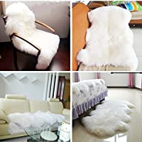 Faux sheepskin fluffy Rug/Faux Fur Rug for Chair Cover Seat Pad 2 ft x 3 ft by WiseGe