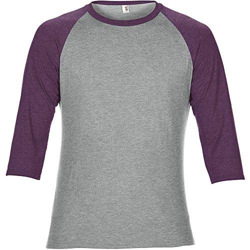 Anvil Mens Adult Tri Blend 3/4 Sleeve Raglan T Shirt Aubergine (3/4 Neck Sleeve Tee)