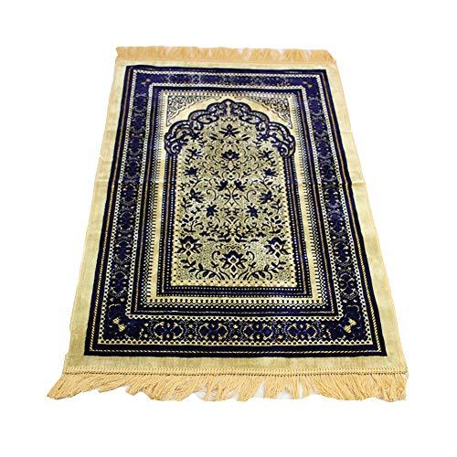 BaronHong Chenille Cashmere Islamischer Gebetsteppich Pilgerfahrt Teppich 27.6X43.3 '(blau, M)