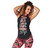 Zumba Fitness Damen Hohe Hals Workout Fashion Tank Top, Damen, Bold Black 1, X-Large