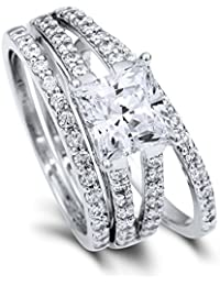BERRICLE Rhodium Plated Sterling Silver Princess Cut Cubic Zirconia CZ Solitaire Engagement Ring Set