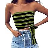 iHENGH Canotta Striscia Senza Manica Cotone Sexy Casual per Donna Shirt Girocollo Queen Party Ragazza Camicetta Estate San Valentino Pliestere Primavera(Verde,Taglia Unica)
