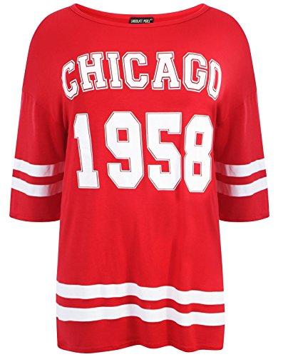 Chocolate Pickle ®Neue Damen Übergrößen sackartige Baseball Varsity T-Shirt Oberteile 40-54 1958 Chicogo Red
