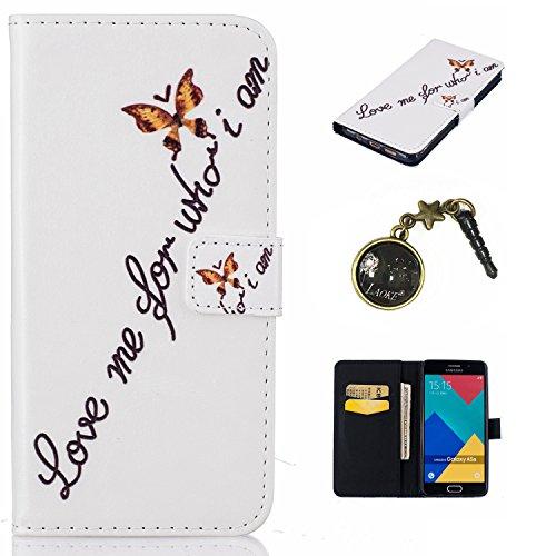 für Smartphone Samsung Galaxy A5 (6) SM-A510F (2016) Hülle,Echt Leder Tasche für Samsung Galaxy A5 (6) SM-A510F (2016) Flip Cover Handyhülle Bookstyle mit Magnet Kartenfächer Standfunktion + Staubstecker (2WW)