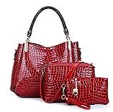 LXYIUN PU Leder Handtasche,Mode Dreiteiliger Anzug Handtasche Diagonales Paket Kupplung Krokodil-Drucktasche,Red