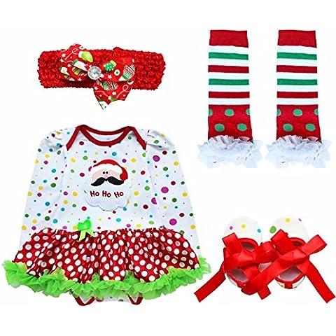 YIZYIF 4PCS S-L Tutú Vestido De Traje De La Navidad Cinta De Cabeza + Mameluco + Calentador De La Pierna Y Zapatos Para Bebé Niñas 0-9 Meses