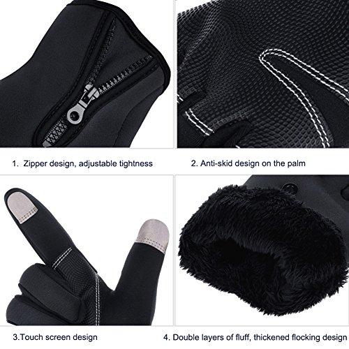 Vbiger TouchscreenHandschuhe Sport Handschuhe Fahrradhandschuhe Handy Handschuhe Motorrad Handschuhe mit Fleecefutter für Winter - 5