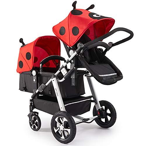 AMENZ Doppio Passeggino Leggero Pieghevole Piccolo con Una Mano Materassino Incluso Passeggino Multi Funzioni Carrozzina Ruote Grandi per Neonati e Bambini - Carrozzina Doppia Rosso