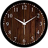 Efinito 12 inch Wooden Checkered Wall Clock for Home/Kitchen/Living Room/Bedroom