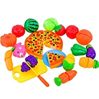 Pretend Play Food Toys, Keepwin 24PCS Kitchen Toys Cutting Fruit Vegetable Fun Play Food Toy Set Home Living Educational Toys for Toddler Children Girls Boys (Multicolor/A)