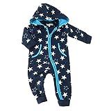 Baby Overall Jungen dunkelblau | Motiv: Sterne | Marke: Petter & Kajsa | Babystrampler mit Sternmotiv für Neugeborene & Kleinkinder | Größe: 6 Monate (68)