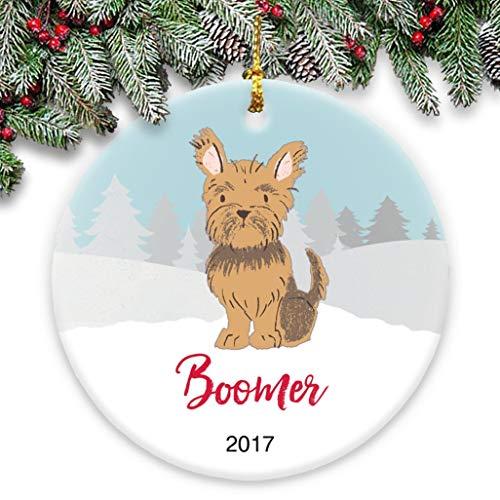 Dozili Yorkie Miniaturhund, mit Namen und Jahr personalisierbar, Keramik