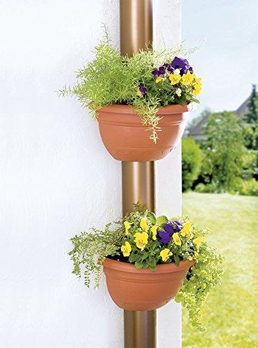 UPP® Fallrohr-Blumentopf 2 Stück terrakottapassend für alle Rohre bis Ø 14cm - wetterfest - inkl. Befestigungsmaterial / Pflanzkübel / Blumentopf / Regenrohrkasten / Pflanztopf