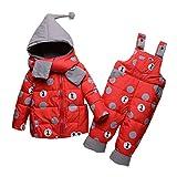 SXSHUN Baby Tuta da Neve Set di Piumino Invernale - Giacca con Cappuccio Sciarpa + Salopette - Piumino Bambino e Bambina Tutina Invernale Caldo, Rosso, 12-18 Mesi (Etichetta: 90cm)