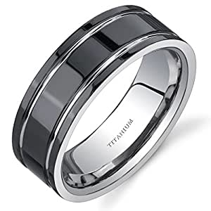 Revoni Comfort fit Mens Black Titanium 8 mm Wedding Band Available Size P 1/2,