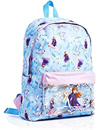 Disney Backpack for Girls Frozen 2 Anna and Elsa School Bags for Girs, Rucksack for Kids with Glitter Confetti, Perfect for School Or Travel, Disney Gift for Girls