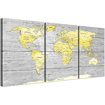 Carte Du Monde Jaune.Grande Jaune Gris Carte Du Monde Atlas Impression Sur Toile