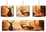 Hirsche im Wald inkl. Lampenfassung E27, Lampe mit Motivdruck, tolle Deckenlampe, Hängelampe, Pendelleuchte - Durchmesser 30cm - Dekoration mit Licht ideal für Wohnzimmer, Kinderzimmer, Schlafzimmer