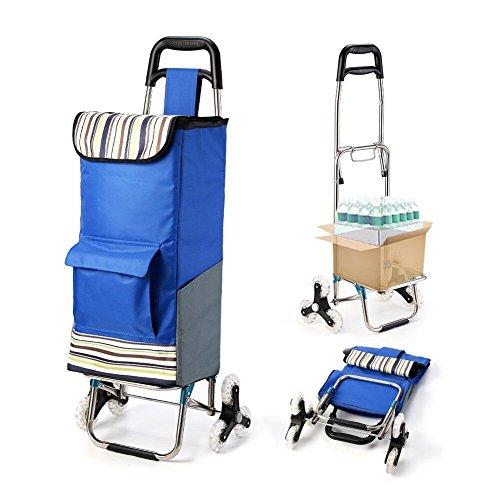 【Upgrade Version】Faltbarer Blau Einkaufstrolley mit Größerer Speicherplatz etwa 45KG, Groß Trolley Größe 45 x 102 x 36 CM, Verschleiß Widerstand Räder Dreirad  für Kletterschritte