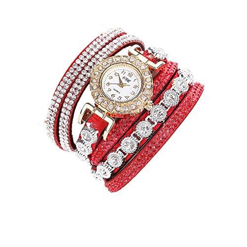 Sunnywill CCQ Damen Schöne Mode Design Strass Armband für Weibliche (Red)